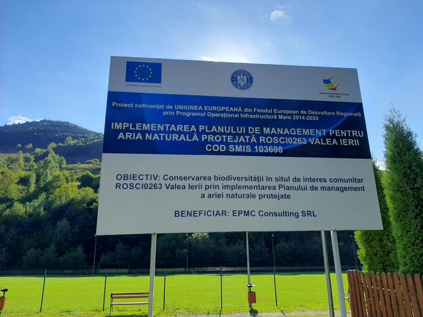 """Finalizarea proiectului cod SMIS 103698 """"Implementarea Planului de Management pentru aria naturală protejată ROSCI0263 Valea Ierii"""""""